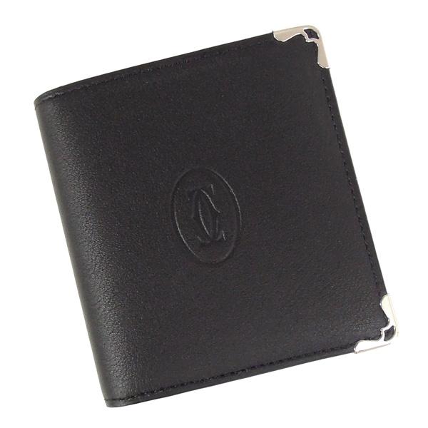 【並行輸入品】 カルティエ 二つ折財布 マストドゥカルティエ L3001549 ブラック+ボルドー Cartier