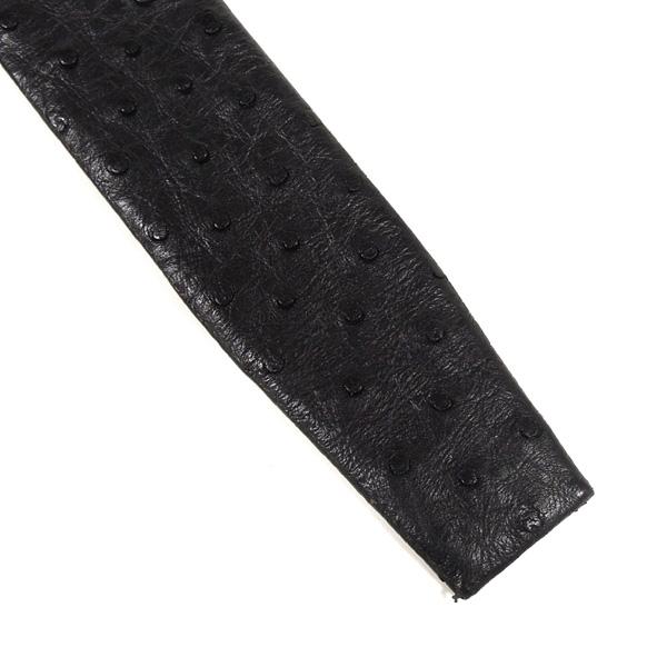 オーストリッチ ベルト メンズ サイズ調整可能 1519 ブラック