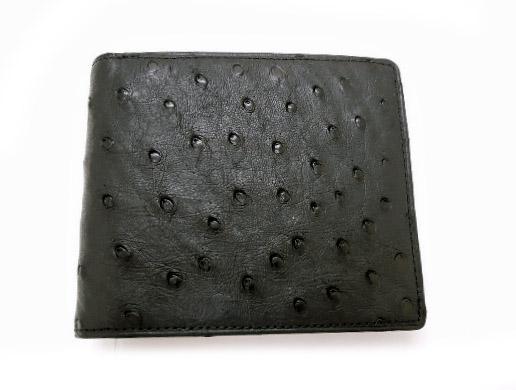 オーストリッチ 財布 二つ折り 小銭入れ付き 1003 ブラック