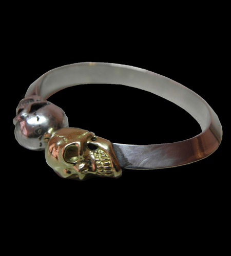 GABORATORY GABOR ガボール ガボラトリーGold & Silver Skull Triangle Wire Bangle [BG-27] gaboratory/gabor/ガボール/ガボラトリー/silver 正規取扱店/シルバー メンズ アクセサリー バングル スカル 925 シルバー925