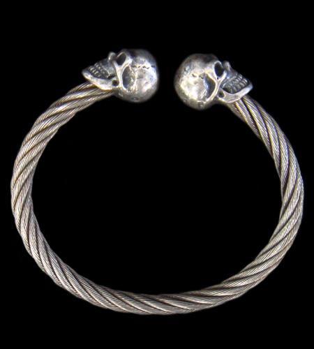 GABORATORY GABOR ガボール ガボラトリー Half Skull Cable Wire Bangle [BG-04] silver 正規取扱店/シルバー メンズ アクセサリー バングル スカル 925 シルバー925