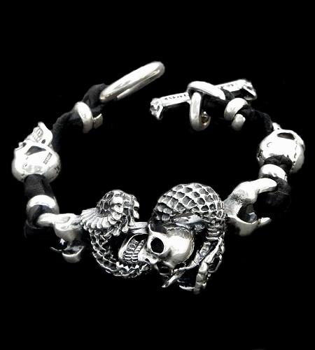 GABORATORY GABOR ガボール ガボラトリー Skull On Snake With 2Skull On braid leather bracelet 22.5cm [B-64] silver 正規取扱店/シルバー メンズ アクセサリー レザー ブレスレット スカル スネーク 925 シルバー925