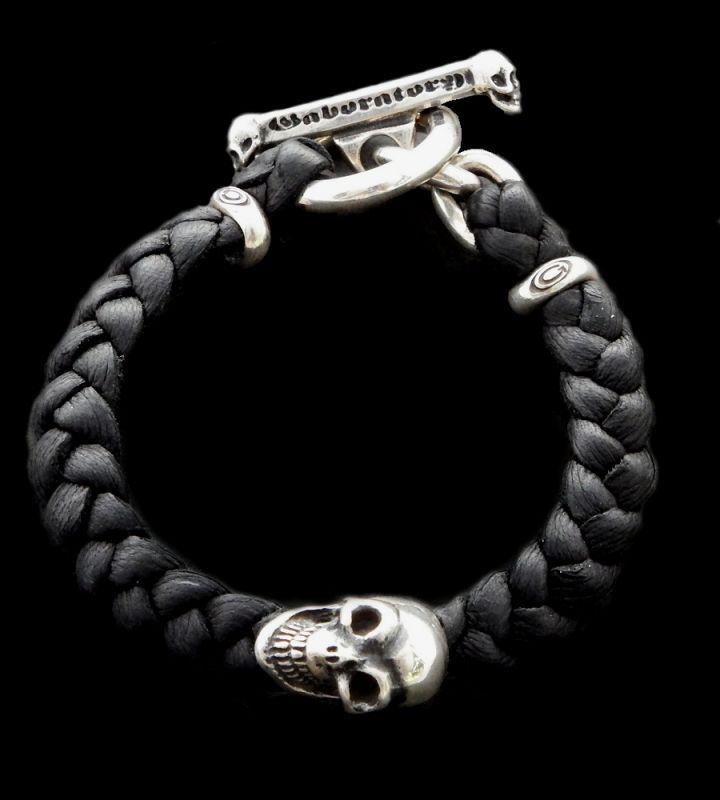GABORATORY GABOR ガボール ガボラトリー Skull On braid leather bracelet 22.3cm [B-66] silver 正規取扱店/シルバー メンズ アクセサリー レザー ブレスレット スカル 925 シルバー925