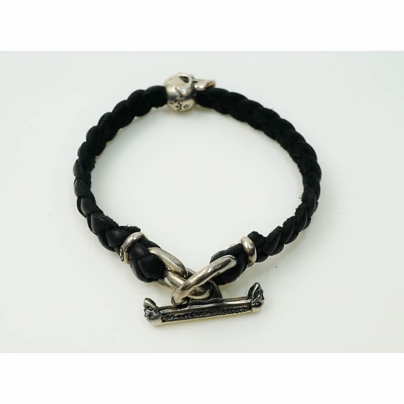 送料無料 gaboratory 正規取扱店 ガボラトリー GABORATORY GABOR 2020 ガボール Half 送料無料激安祭 Skull On leather メンズ シルバー 925 アクセサリー braid B-67 ブレスレット bracelet