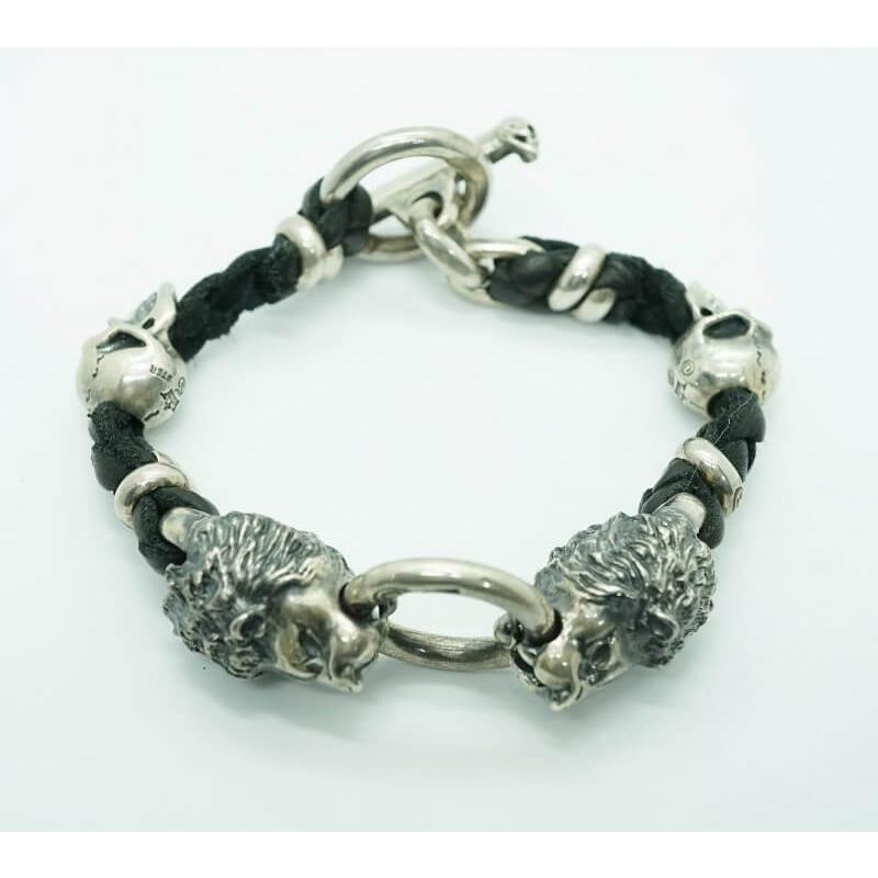 GABORATORY GABOR ガボール ガボラトリー 2Lions With 2Skulls braid leather bracelet 23cm [B-70] silver 正規取扱店 レザー ブレスレット 23 ライオン スカル 925 シルバー925