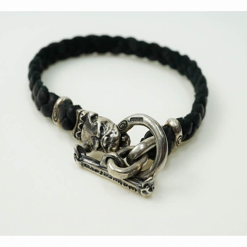 GABORATORY GABOR ガボール ガボラトリー Quarter Old Bulldog braid leather bracelet [B-75] 正規取扱店 メンズ アクセサリー ブレスレット シルバー 925