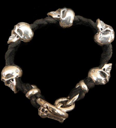 GABORATORY GABOR ガボール ガボラトリー 5Skulls braid leather bracelet 22cm [B-98] silver 正規取扱店/シルバー メンズ アクセサリー スカル ブレスレット レザー 925 シルバー925