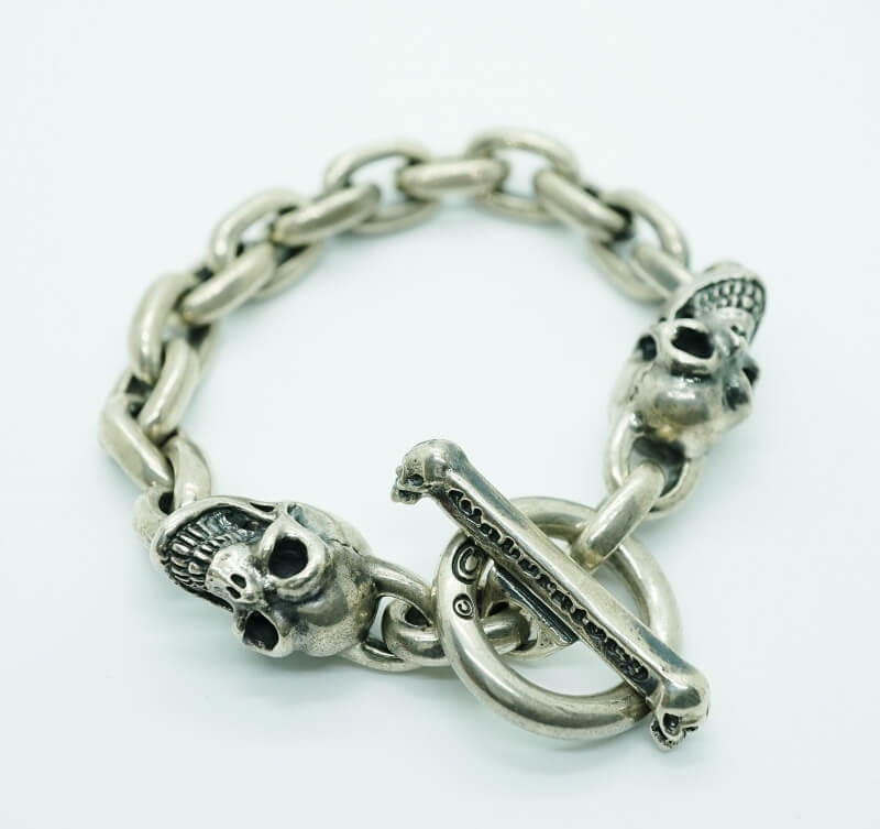 GABORATORY GABOR ガボール ガボラトリー 2Skulls With Small Oval Chain Links Bracelet [B-96] 正規取扱店 メンズ アクセサリー ブレスレット シルバー 925