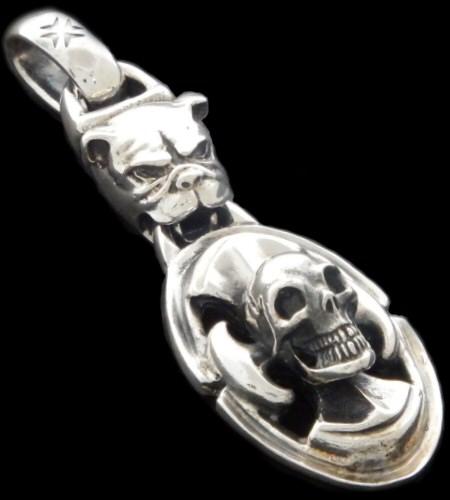 gaboratory gabor ガボール ガボラトリー Bulldog & Battle-Ax On Skull Pendant [P-178] silver 正規取扱店/シルバー メンズ アクセサリー ペンダント スカル ブル 925 シルバー925