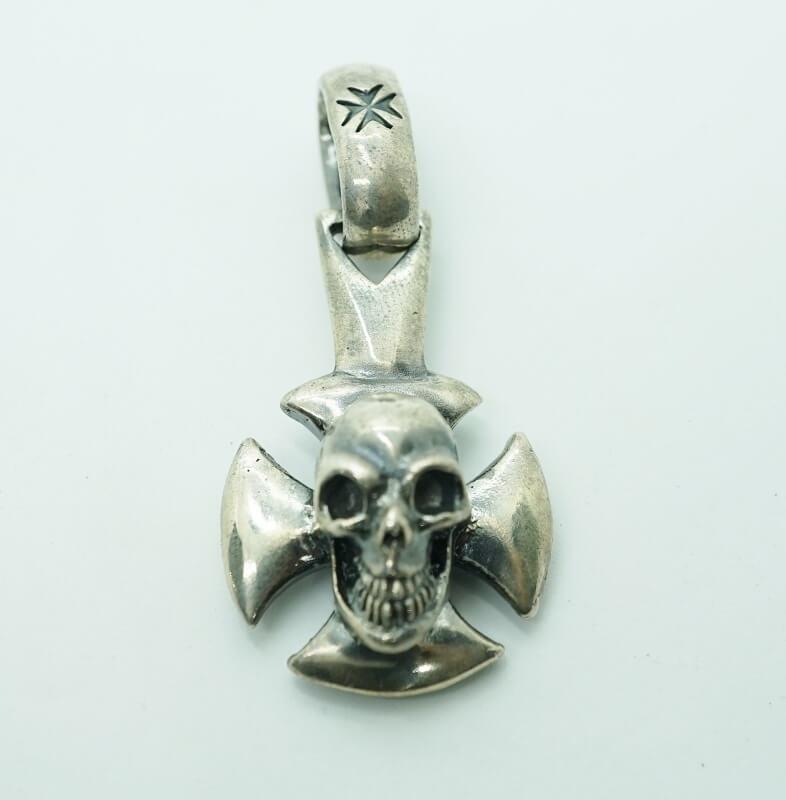 gaboratory gabor ガボール ガボラトリー Skull On Round Cross Pendant [P-259] 正規取扱 メンズ アクセサリー ペンダント スカル シルバー 925