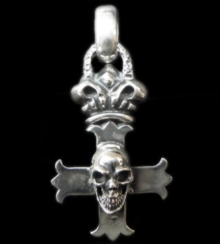 gaboratory gabor ガボラトリー ガボール Skull On Crown Constantin Cross & H.W.O Pendant [P-263] silver 正規取扱店/シルバー メンズ アクセサリー ペンダント スカル クロス クラウン 925 シルバー925
