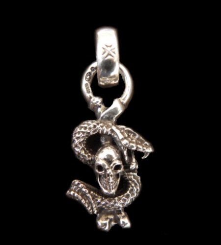 gaboratory gabor ガボール ガボラトリー Quarter Skull On Snake With H.W.O Pendant [P-75] silver 正規取扱店/シルバー メンズ アクセサリー クォーター スカル 蛇 スネーク ペンダント 925 シルバー925