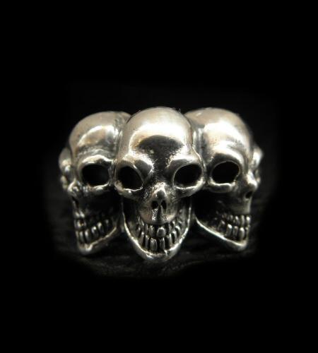 送料無料 gaboratory 正規取扱店 ガボラトリー GABORATORY GABOR ガボール Half Triple Skull With Triangle gabor R-51 Wire スカル Ring silver リング シルバー925 シルバー メンズ アクセサリー ついに再販開始 925 限定モデル