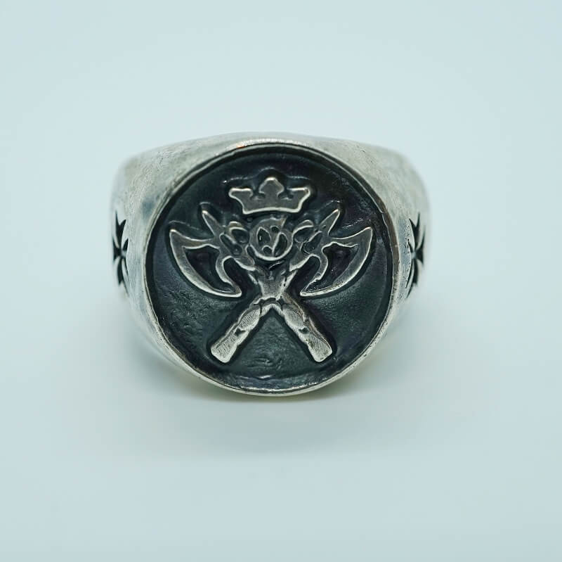GABORATORY/GABOR/ガボール/ガボラトリー Battle-Ax Round Stamp Ring [R-62] 正規取扱店 シルバー メンズ アクセサリー リング バトルアックス シルバー 925