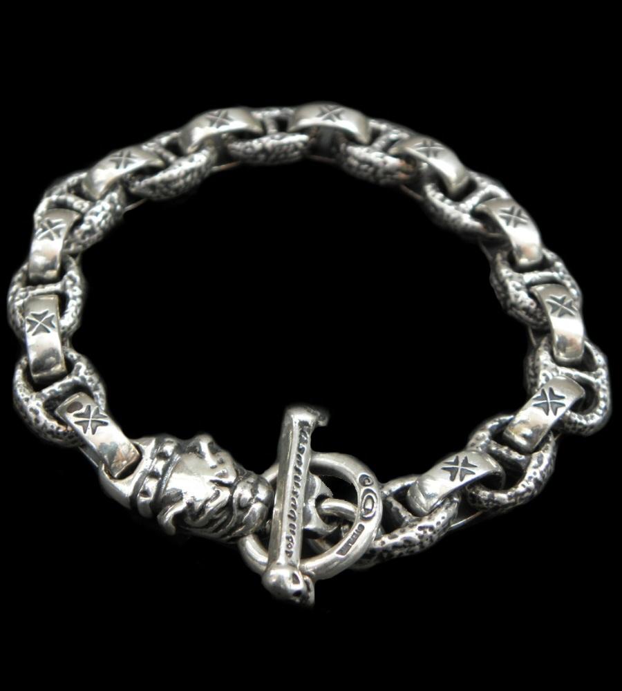 GABORATORY GABOR ガボール ガボラトリー Quarter Old Bulldog With H.W.O & Chiseled Anchor Links Bracelet [B-115] silver 正規取扱店/シルバー メンズ アクセサリー ブレスレット ブル 925 シルバー925
