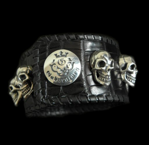 GABORATORY GABOR ガボール ガボラトリー 8Skull Crocodile Leather Wrist band[B-117] gaboratory gabor/ガボラトリー/ガボール/silver 正規取扱店/シルバー メンズ アクセサリー ブレスレット スカル 925 シルバー925