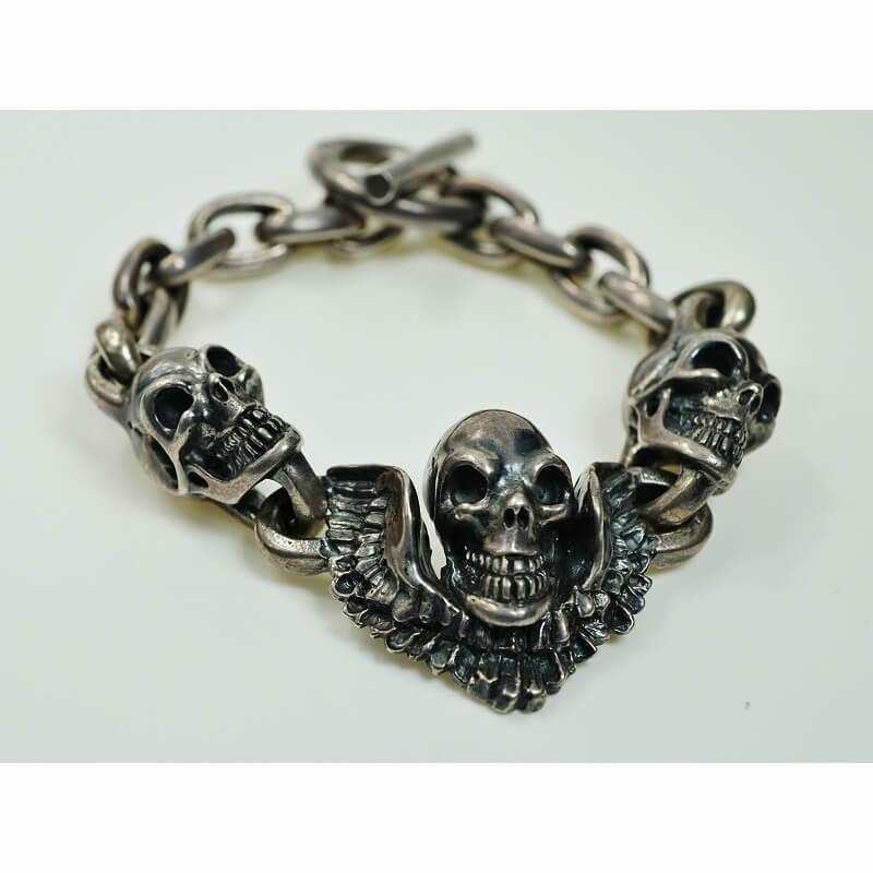 GABORATORY ガボール Skull wing with 2skulls bracelet [B-139] 正規取扱店 メンズ アクセサリー ブレスレット シルバー 925