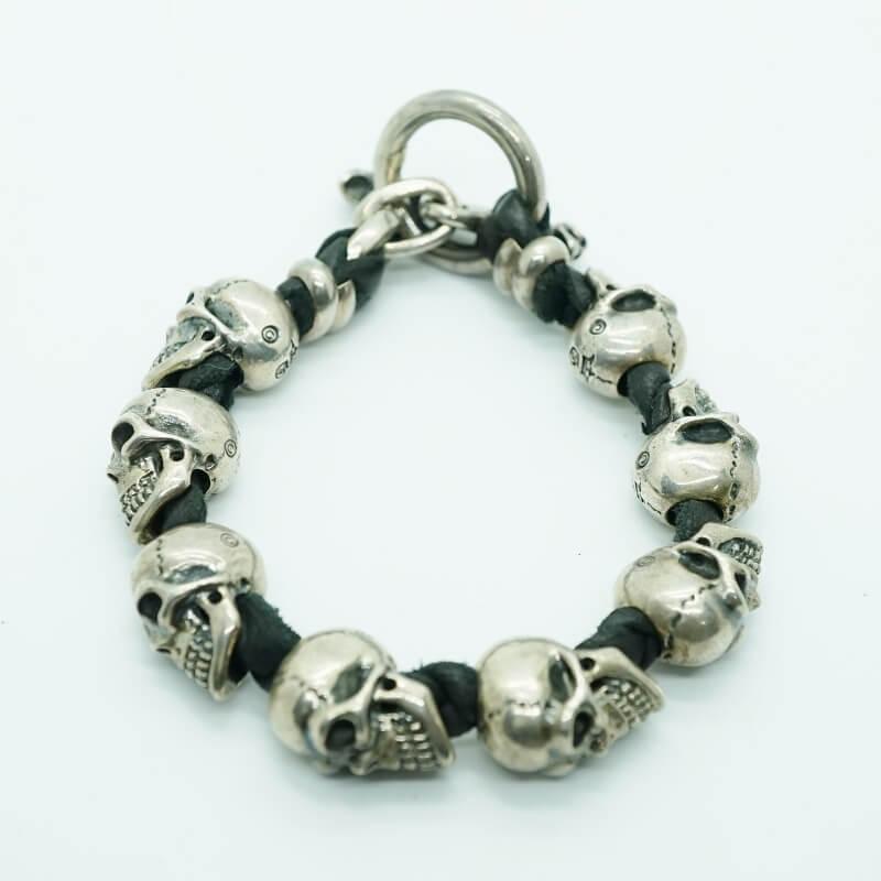 GABORATORY GABOR ガボール ガボラトリー 8Skulls braid leather bracelet [B-190] 正規取扱店シルバー メンズ アクセサリー ブレスレット スカル シルバー 925