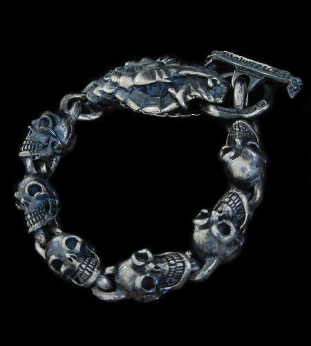 GABORATORY GABOR ガボール ガボラトリー Snake Head With Skulls Links Bracelet [B-36] silver 正規取扱店/シルバー メンズ アクセサリー ブレスレット スカル スネーク 925 シルバー925
