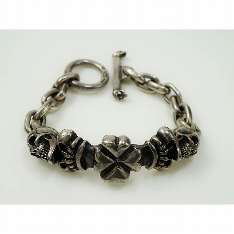 gaboratory gabor ガボール ガボラトリー 2Skull On 4Heart Crown & Chain Links Bracelet [B-85] silver 正規取扱店/シルバー メンズ アクセサリー ブレスレット スカル クラウン ハート 925 シルバー925
