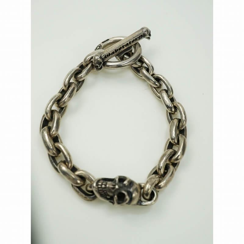 GABORATORY GABOR ガボール ガボラトリー Single Slant Head Skull With Cast Chain Links Bracelet [B-94] gaboratory gabor/ガボラトリー/ガボール/silver 正規取扱店/シルバー メンズ アクセサリー ブレスレット スカル 925 シルバー925