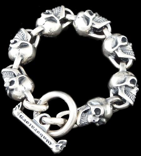 GABORATORY GABOR ガボール ガボラトリー All Slant Head Skulls Link Bracelet [B-97] gaboratory gabor/ガボラトリー/ガボール/silver 正規取扱店/シルバー メンズ アクセサリー ブレスレット スカル 925 シルバー925