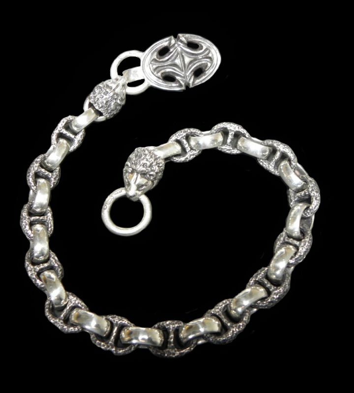GABORATORY GABOR ガボール ガボラトリー Sculpted Oval Keeper & 2Lion Heads with H.W.O & Anchor Chain Links Wallet Chain [WC-11] silver 正規取扱店/シルバー メンズ アクセサリー ウォレットチェーン ライオン 925 シルバー925
