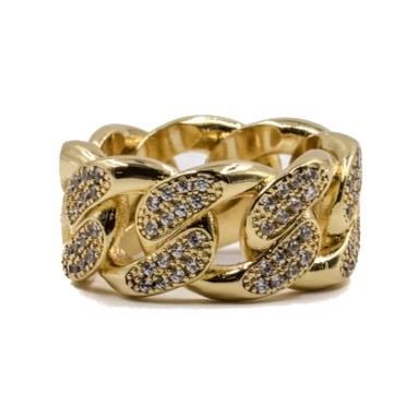 ゴールデンギルト デザインバイティーエスエス GOLDEN GILT DESIGN BY TSS STUDDED CUBAN RING GOLD/ゴールド 指輪