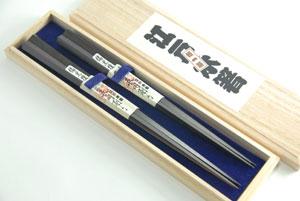 【大黒屋】江戸木箸 極上縞黒檀 桐箱入り 五角夫婦箸セット