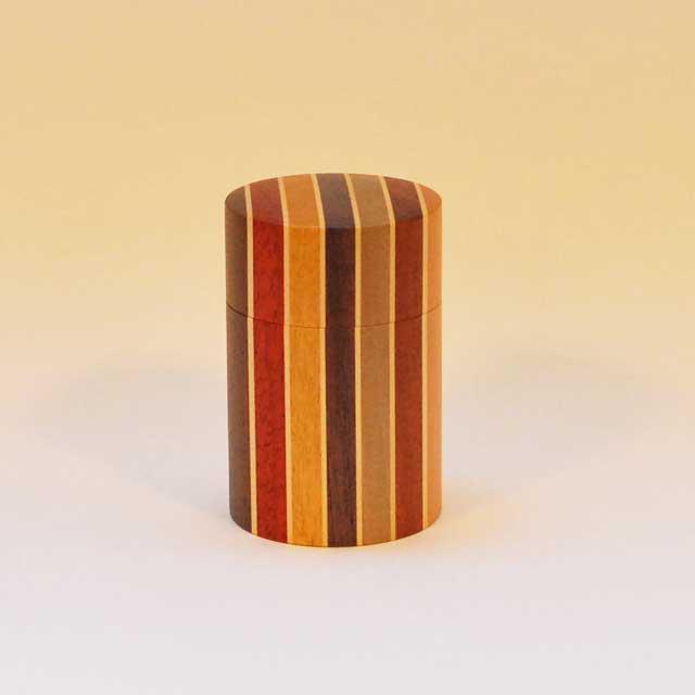 【露木木工所】箱根寄木細工 茶筒 大 縞