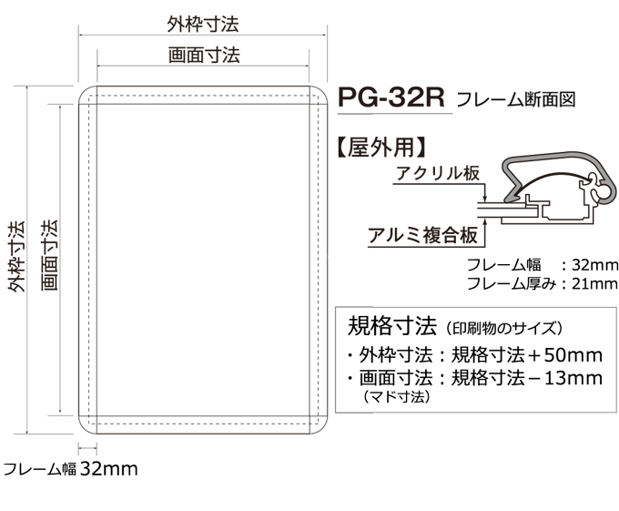 ポスターグリップ 32R A3 (297×420mm) 屋外用 シンエイ社製