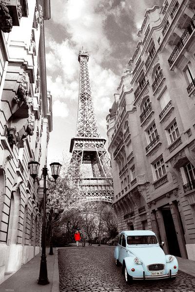 エッフェル塔 シトロエン 2CV ポスター 爆買い送料無料 Paris 当店は最高な サービスを提供します Red Girl Blue Car 140620