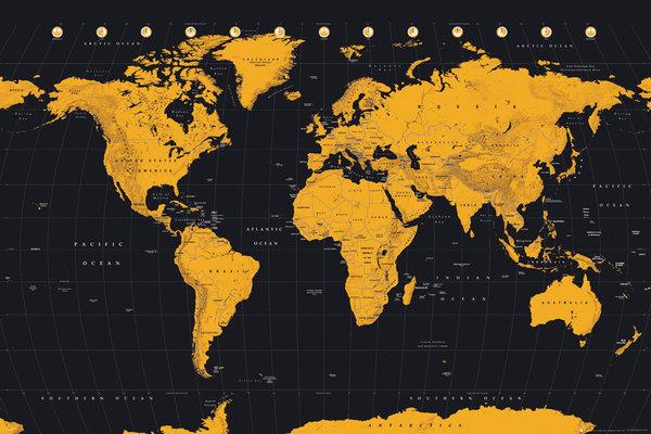 世界地図 期間限定の激安セール ポスター ゴールド ☆国内最安値に挑戦☆ World 161007 Map Gold