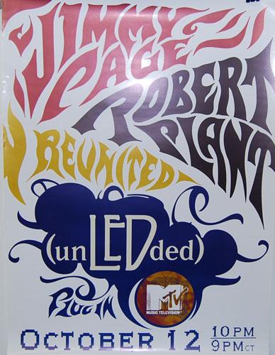 ヴィンテージ プロモーショナル ポスター ジミー·ペイジ ロバート·プラントJimmy Page & Robert Plant Unledded film on MTV (un LED ded)