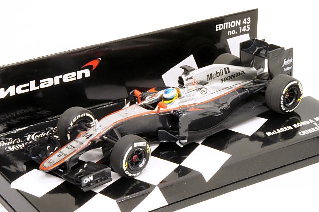 ミニカー 1/43 ミニチャンプス MINICHAMPS(530154314) マクラーレン ホンダ MP4-30 2015年 中国GP No.14 F.アロンソ