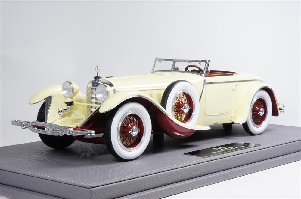 ショウケース付 1928 sn40156 Saoutchik with メルセデスベンツ 完成品ミニカー 1/18 イラリオ IL1808SC トーピードー 680S ベージュ/レッド
