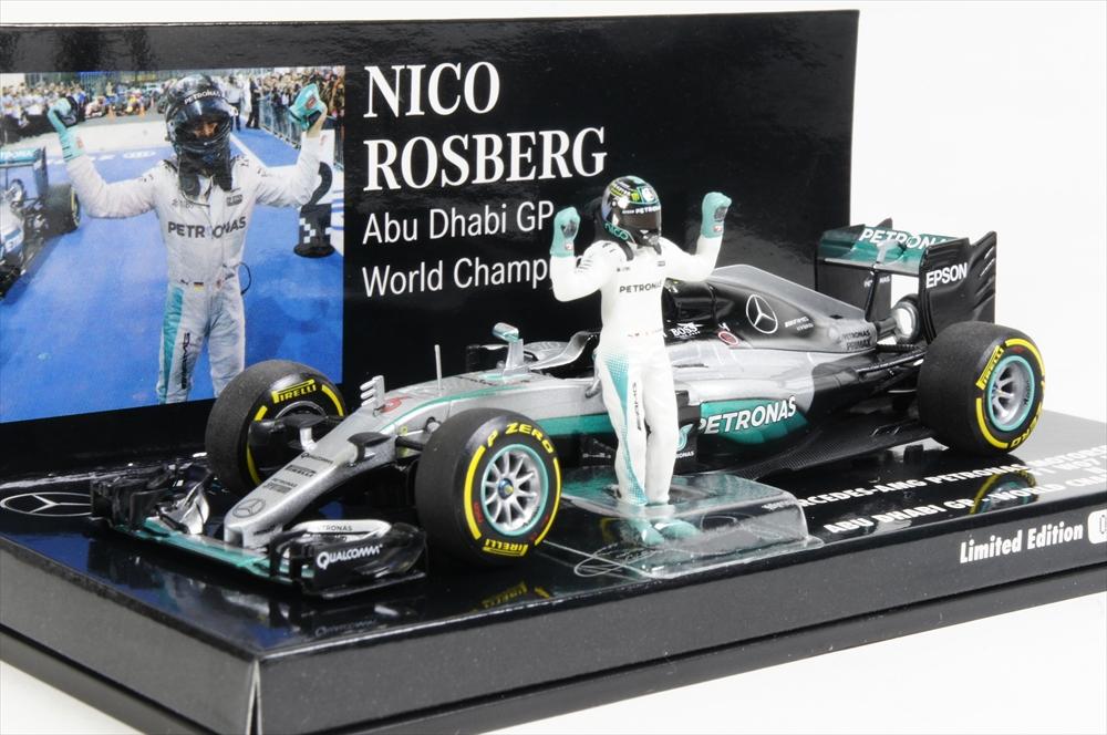 ミニチャンプス 1/43 メルセデス AMG ペトロナス フォーミュラ ワン チーム F1 W07 ハイブリッド 2016 F1 ワールドチャンピオン N.ロズベルグ フィギュア付 完成品ミニカー 410160806