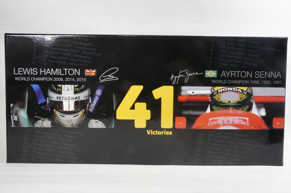ミニカー 1/43 ミニチャンプス MINICHAMPS(412414408) L.ハミルトン ウイナー41回達成 F1 日本GP 2015(メルセデスAMGペトロナス) + A.セナ ウイナー41回達成 F1 オーストラリアGP 1993(マクラーレンMP4/8) 2台セット