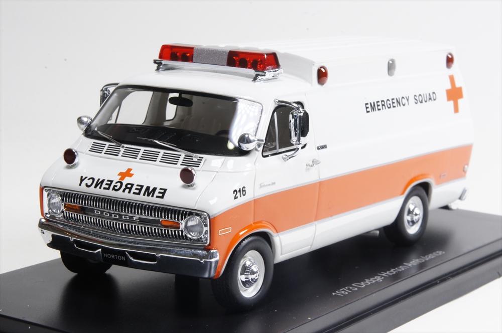 ネオ1/43 ダッジホートン 救急車 1973 ホワイト/オレンジ 完成品ミニカー NEO46941