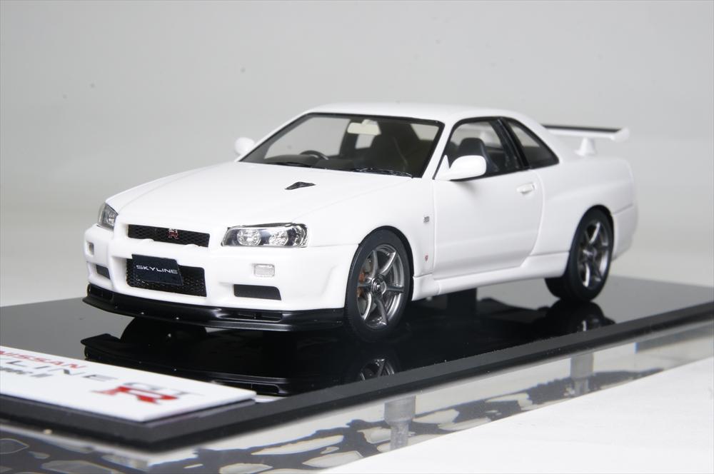 (BNR34) 1/43 ニッサン 2000 II スカイライン アイドロン 完成品ミニカー GT-R V-spec EM371B ホワイトパール