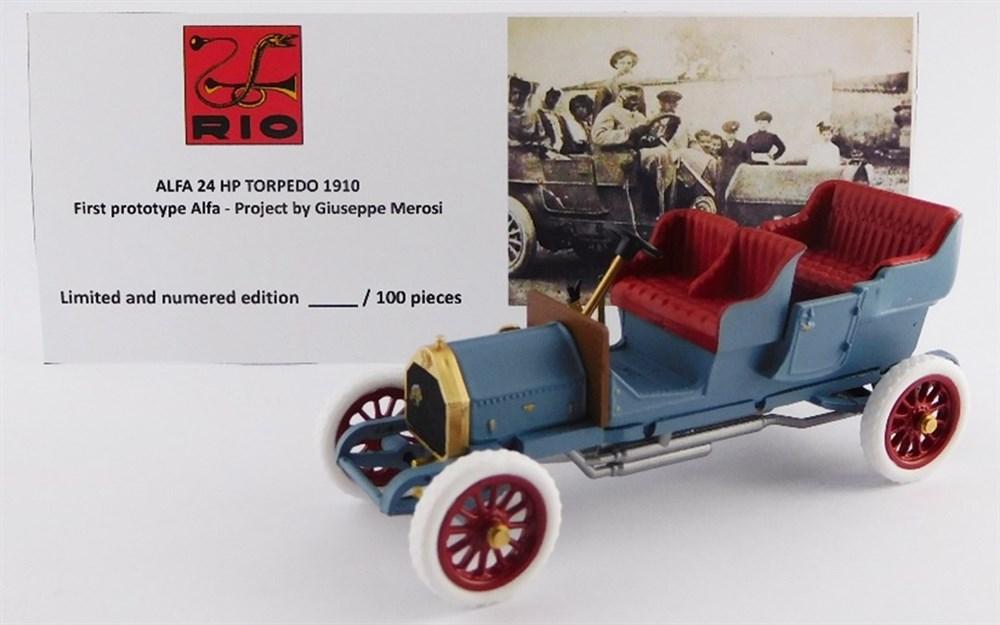 リオ1/43 アルファ 24 HP トーピードゥ 1910 アルファ第一試作モデル Giuseppe Merosi設計 完成品ミニカー RIO4567