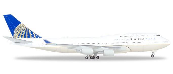 ヘルパウィングス 1/500 747-400 ユナイテッド航空 N118UA 完成品 艦船・飛行機 HE531306