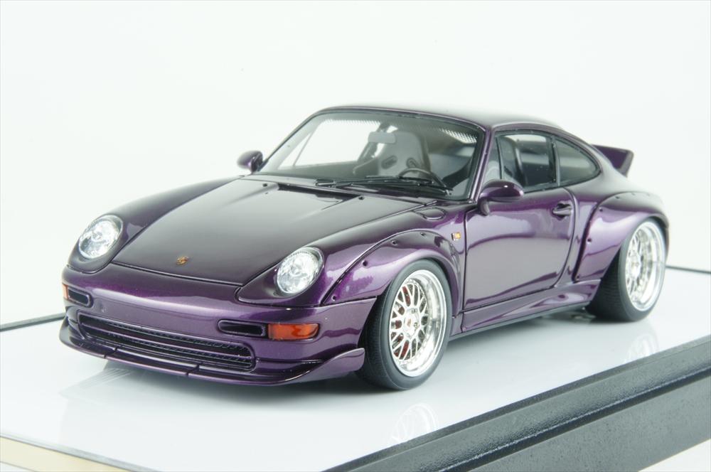 """ヴィジョン1/43 ポルシェ 911(993) GT2 """"Duck tail Spoiler"""" ビオラメタリック 完成品ミニカー VM128E"""