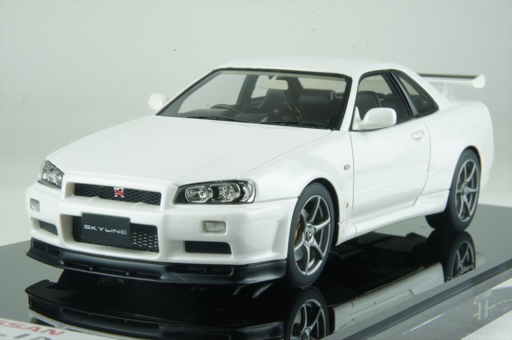アイドロン1/43 ニッサン スカイライン GT-R (BNR34) M-spec ニュル 2002 ホワイトパール 完成品ミニカー EM373C