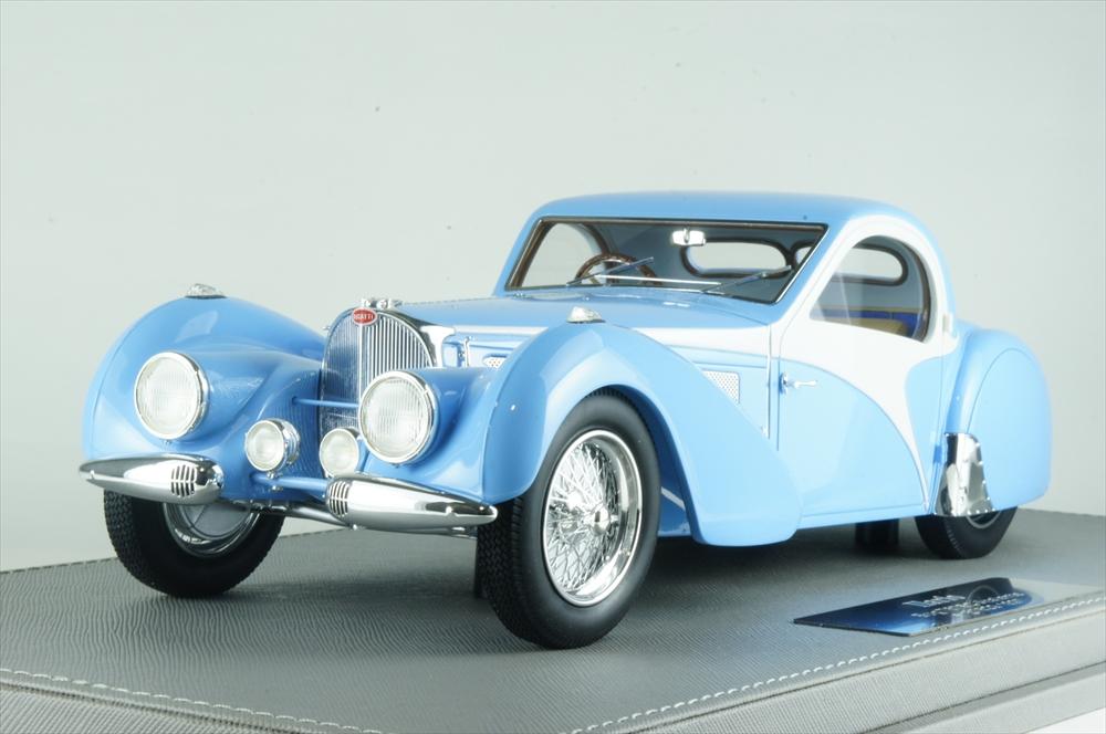 イラリオ 1/18 ブガッティ T57SC アトランテ 1937 レストアカー ホワイト/ブルー 完成品ミニカー IL1811