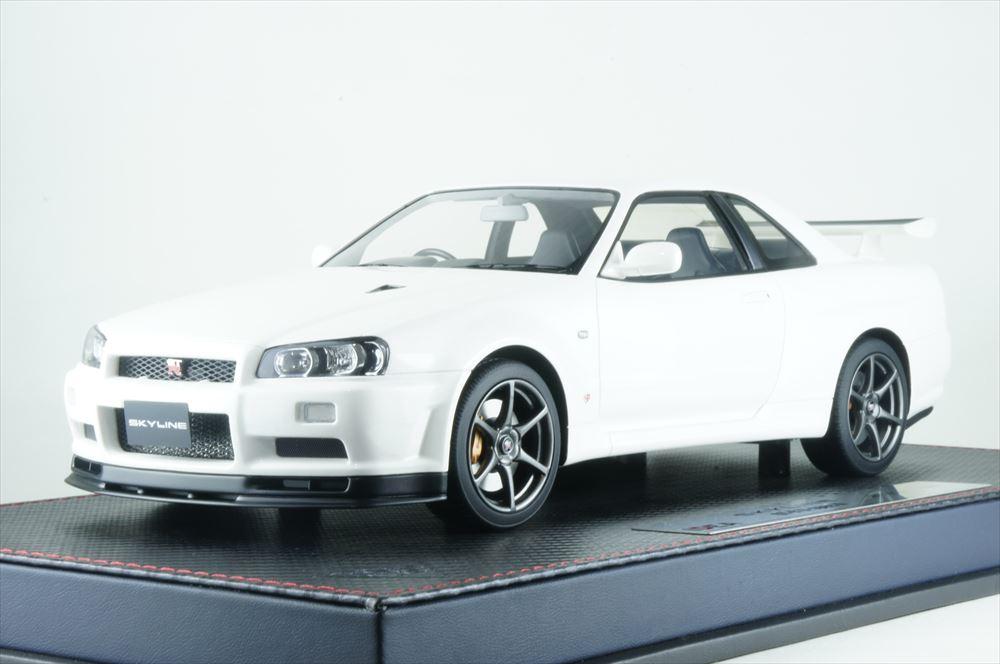 イデア 1/18 ニッサン スカイライン GT-R BNR34 V-spec II 2000 パールホワイト 完成品ミニカー IM024B