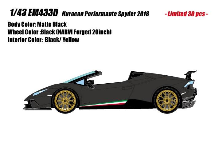 【予約】 アイドロン 1/43 ランボルギーニ ウラカン ペルフォマンテ スパイダー 2018 マットブラック 完成品ミニカー EM433D