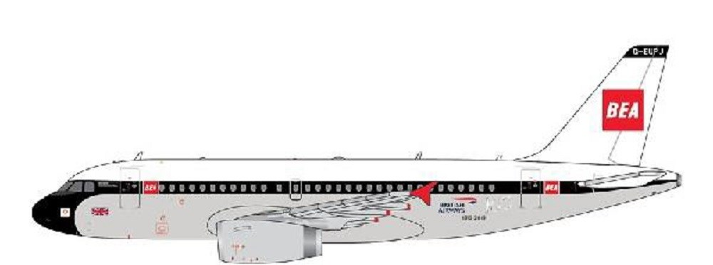 ジェミニジェット 1/400 ブリティッシュエアウェイズ (BEA livery) A319 G-EUPJ 完成品 艦船・飛行機 GJBAW1859