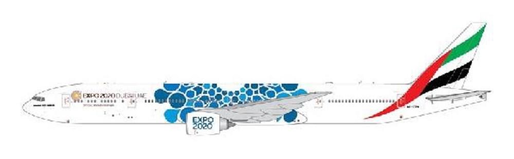 ジェミニジェット 1/400 エミレーツ航空 (Blue Expo 2020 livery) 777-300ER A6-EPK 完成品 艦船・飛行機 GJUAE1834