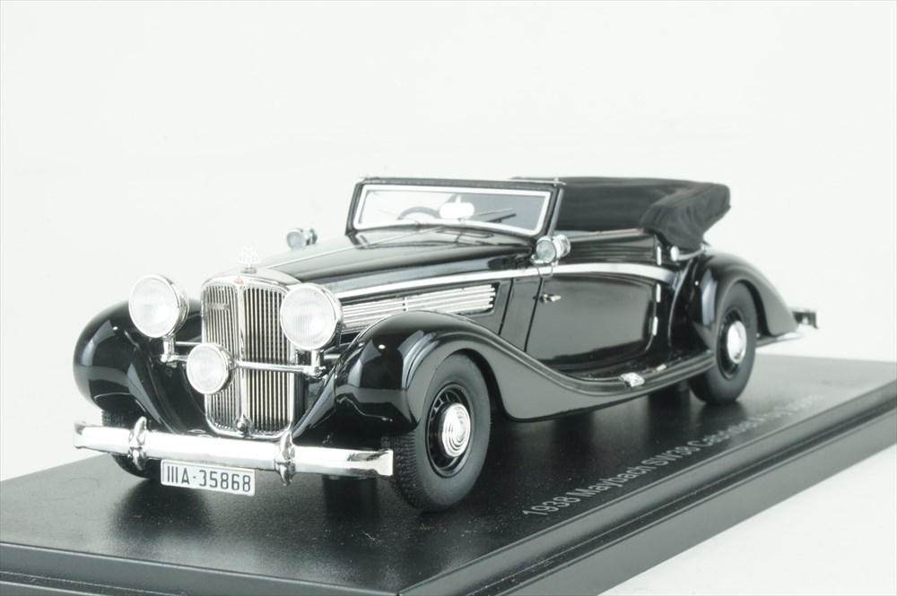 エスバルモデル 1/43 マイバッハ SW38 カブリオレA 1938 トップダウン ブラック 完成品ミニカー EMGEMB436A